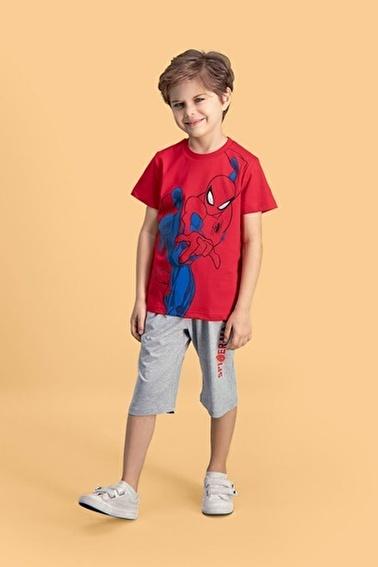 Spider-Man Spider Man Lisanslı Mavi Erkek Çocuk Kapri Takım Kırmızı